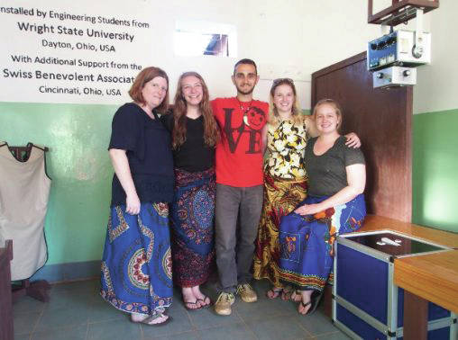 Submitted photo Wright State students in a X-ray room at a Malawi hospital: team leader Amanda Marker, left, team co-leader Katelyn Adams, Riza Ingalls, Brittany Sommers-Wood and Lexi Heironimus.