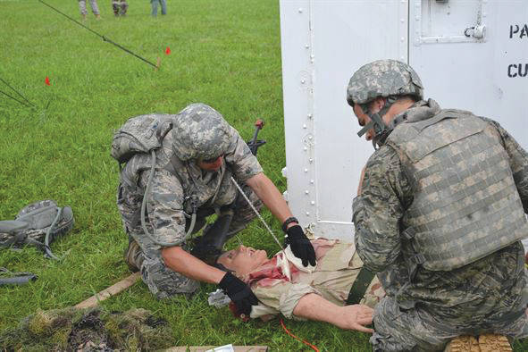 Submitted photo Participants provide critical care to a simulated combat casualty during the Air Force Research Laboratory's Tech Warrior 2016 exercise. AFRL will hold this year's home station deployment exercise at the National Center for Medical Readiness (NCMR) Sept. 19-29. Tech Warrior 2017 provides AFRL scientists and engineers the opportunity to experience field, mobility and combat skills training to gain a better understanding of the operational environment.