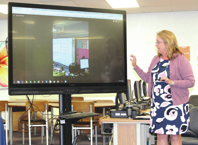 Linda Collins | Fairborn Herald Dr. Sue Brackenhoff, director of curriculum and instruction at Fairborn City Schools, demonstrating some of the new technology being integrated into classrooms at Fairborn Primary and Fairborn Intermediate Schools.