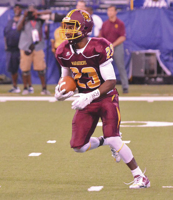 Terraris Saffold of Central State returned a kickoff 85 yards for a touchdown, in Saturday's Sept. 23 Circle City Classic college football game in Indianapolis, against Southern Intercollegiate Athletic Conference rival Kentucky State.