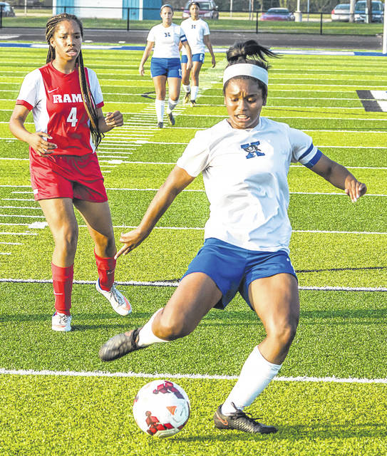 Xenia's Adriana Winston scores the first goal of Wednesday's Sept. 27 match with Trotwood-Madison, at Doug Adams Stadium in Xenia. Winston collected her first hat trick of her career in Xenia's 4-0 win.