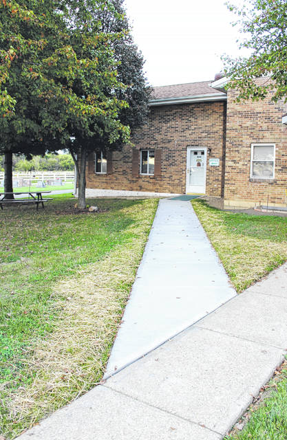 Linda Collins | Fairborn Herald A new sidewalk leading to the Byron cemetery office as well as a couple of slabs, one around the existing columbarium and where the new one will be erected, have been poured.