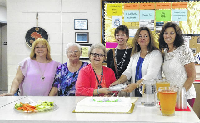 Submitted photo Pictured, left to right are: Robin DeWine, church newsletter correspondent for Pass It On; Sandy Smith, client/donor liaison for Pass It On; Marlene Elliott, co-coordinator and founder of Pass It On; Sandy McHugh, a founder of 100 Women; Rebecca Morgann, a founder of 100 Women; Cyndi Fevang, co-coordinator of Pass It On. Not pictured: Pastor Melissa Tidwell, memer of Pass It On team and Sandy Middleton, mission committee chair.