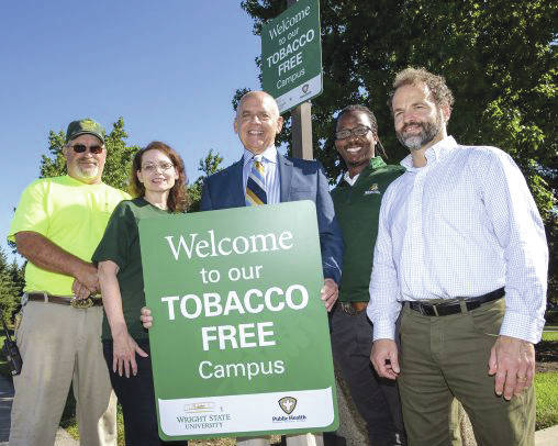 Submitted photos Wright State's tobacco-free initiative involves much collaboration. From left: Don Zink, Grounds Maintenance lead; Karen Strider-Iiames, director of communications programs; Bruce Barcelo, healthy lifestyle supervisor at Public Health – Dayton & Montgomery County; Christopher Hogan, assistant director of community standards and student conduct; and Doug Newton, Wellness program director.