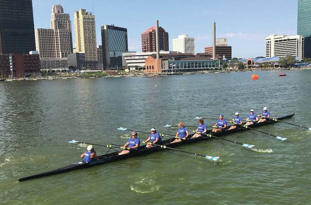 The women's eight was one of four medal-winning crews from the Dayton Boat Club at the Frogtown Regatta, Sept. 23 in Toledo.