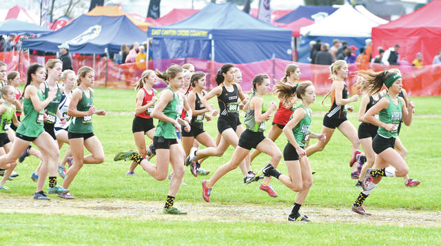 Members of the Beavercreek girls cross country team (in black and orange) get off to a good start in the Division I race, Nov. 4 at National Trail Raceway in Hebron.