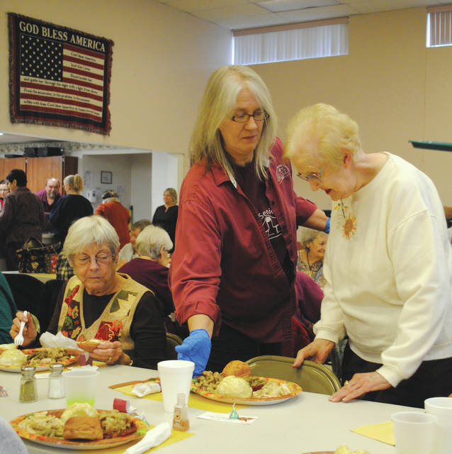 Whitney Vickers | Fairborn Herald The Fairborn Senior Center hosted a Thanksgiving feast for members Nov. 16, serving up turkey, mashed potatoes, dressing, gravy, rolls and cranberry sauce — complete with a recording of the 2016 Macy's Thanksgiving Day Parade.