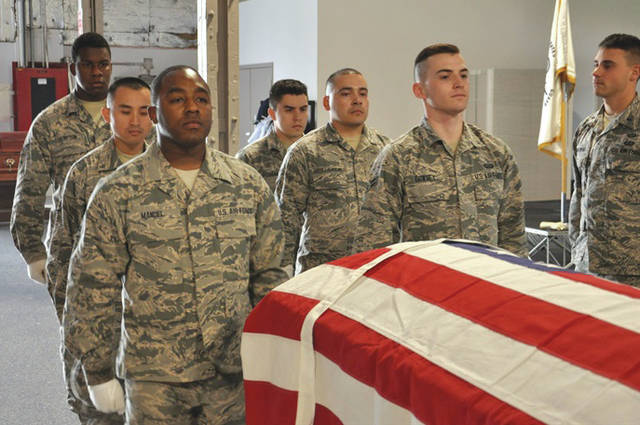 Submitted photo Wright-Patterson Air Force Base Honor Guard members practice for full honors funeral.