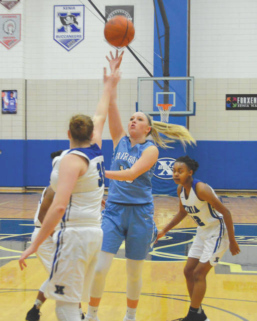 Fairborn's Evelyn Oktavec puts up a first-half shot in Wednesday's Dec. 20 girls high school basketball game against host Xenia. Fairborn won the game, 44-36.