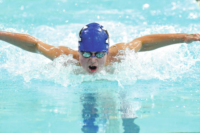 Xenia High School's Garrett Beam comes up for air during the boys 50-yard Butterfly event, Dec. 8 in the 10-team Oakwood Spring Meet Invitational, which was held at the Dayton Raiders Aquatic Center in Beavercreek.