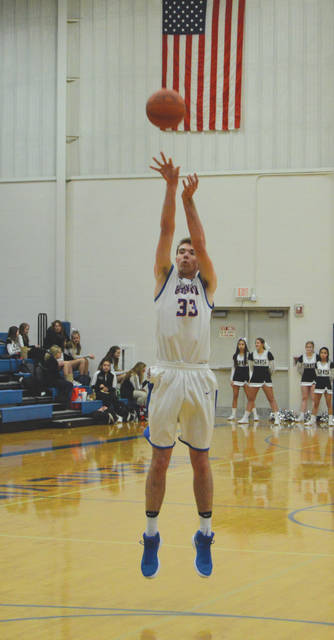 Senior forward Mason Schneider (33) led the Greeneview Rams with 18 points, but visiting Greenon came away with the 48-42 win, Friday Dec. 15 at Greeneview High.