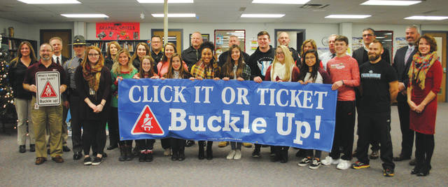 Whitney Vickers | Fairborn Daily Herald For the fourth consecutive time, Fairborn High School has won the Greene County Safe Communities Coalition Seat Belt Challenge with 100 percent of students buckled.