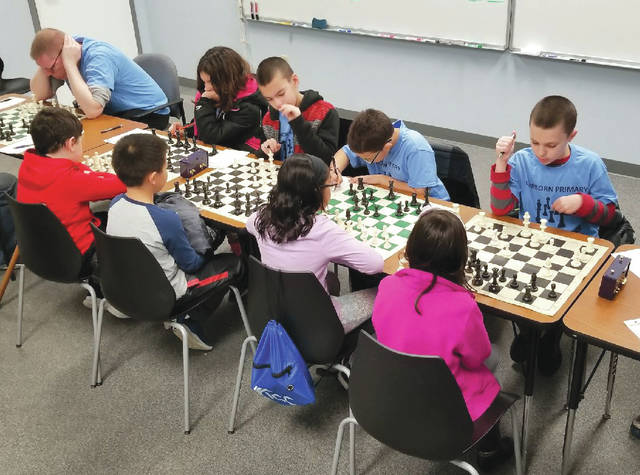 Submitted photo The Fairborn Primary School Chess Club traveled to Hilliard recently to compete in a chess scrimmage at a math plus event. Fairborn students won the chess scrimmage with a score of four and a half to three and a half. Player's get one point for a win and half a point for a draw.