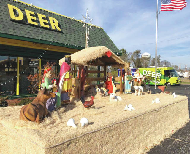 Submitted photo Deer Heating and Cooling has installed a nativity scene outside of its main showroom, 351 N. Broad St., and is inviting the community to stop by and take a look.