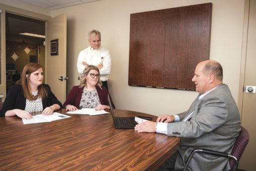 Submitted photo From left: Student Allison Brown; James Hamister, associate professor of supply chain management; student Courtney Phibbs; and Ben Rhinehart, director – purchasing and trade compliance for Crown.