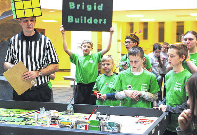Photos by Barb Slone | Fairborn Herald Several local FIRST Lego League teams competed at the district tournament at Wright State University over the weekend Jan. 6-7. The Brigid Builders was a team from St. Brigid in Xenia.
