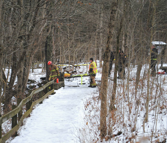 Photos by Whitney Vickers | Fairborn Herald The body spotted by a hiker Jan. 9 in Clifton Gorge State Nature Preserve has been identified as Michael Fowler, 65, of Springfield. Officials were uncertain whether it was an accident, suicide or case of foul play.