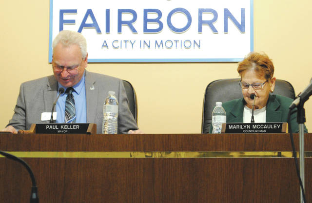 Whitney Vickers | Fairborn Herald Council member Marilyn McCauley accepted the nomination to serve as deputy mayor. She is pictured on the right alongside Fairborn Mayor Paul Keller (left).