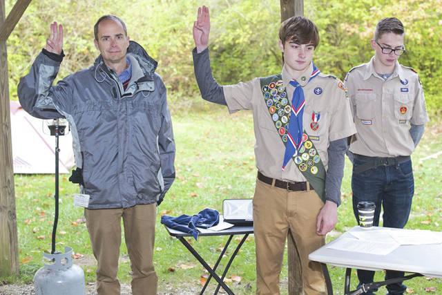 Submitted photo Eagle Scout Erik Oberg, stands with new Eagle Scout, Dean Larkin, continuing the scouting call to service.