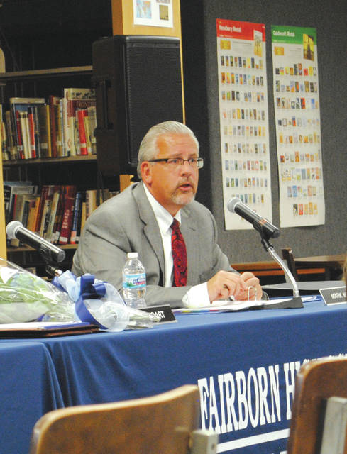 Whitney Vickers | Fairborn Herald Fairborn City Schools Superintendent Mark North at the Jan. 11 school board meeting.