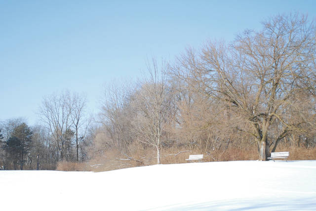 Photos by Whitney Vickers | Fairborn Herald Winter is in full swing throughout the Miami Valley. Community Park (pictured) is covered in snow, but possibly not for long as temperatures are expected to rise up to the 40s in the coming days.