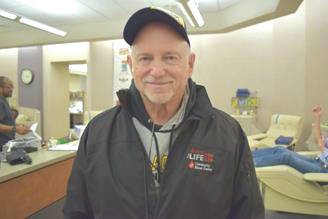Submitted photo Fairborn citizen Steve Woolwine recently made his 100-lifetime blood donation.