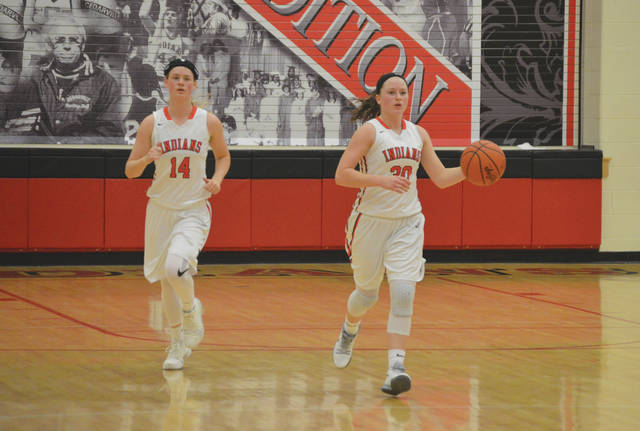 The Indians dynamic duo of Ise Bolender (left) and Maggie Coe led all scorers with 21 points each in a 68-39 Ohio Heritage Conference win Feb. 1 over South Charleston Southeastern, at Cedarville High School.