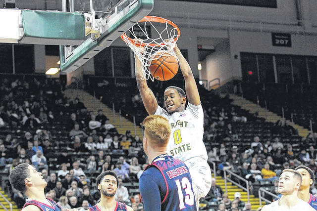 Submitted photo Jaylon Hall on the court with Wright State University.