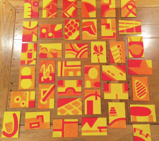 Submitted photo Mary C. Bell is displaying a full year of daily diary paintings in February at the Fairborn Art Association gallery. She painted each canvas in red, yellow and orange. Circles represent people, which could be lunch with a friend, dinner with family or a club meeting.