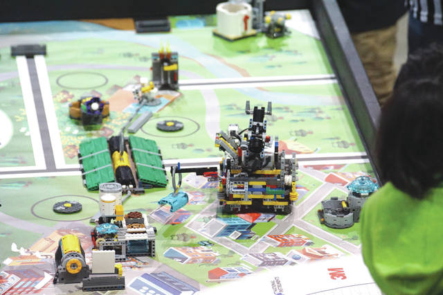 FIRST LEGO highlighted hydro-dynamics. A FIRST Robot Competition, a high school competition, will be held Friday, March 2 at the Nutter Center and will feature 120-pound robots built by high school students, grades 9-12.