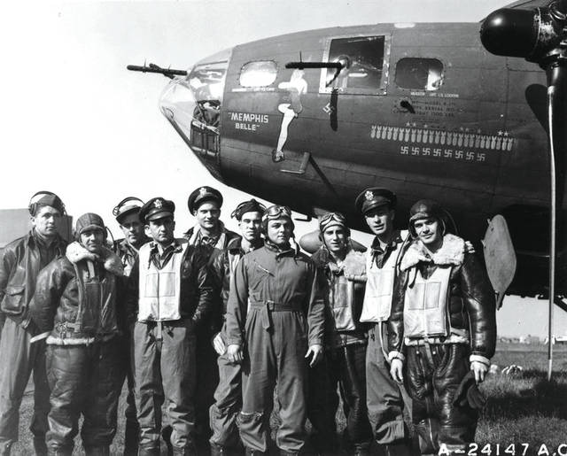 "Submitted photo The B-17 ""Memphis Belle"" and crew."