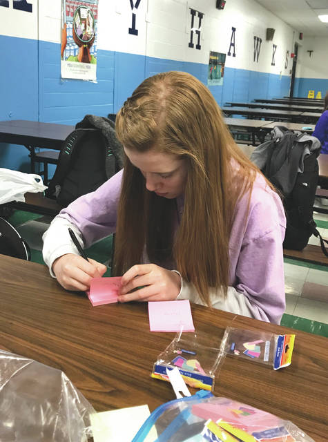 "Submitted photos Baker Middle School student ambassadors woke up extra early Feb. 6 to make time to create post-it notes that say ""you matter."" They were placed on all lockers throughout the school. Fairborn Intermediate School and Fairborn High School student ambassadors will participate in similar activities in the coming days as part of ""Say Hello"" week throughout Fairborn City Schools."