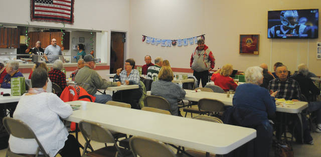 Whitney Vickers | Greene County News The Fairborn Senior Center hosted a Superbowl Tailgate Party Feb. 1 to gear-up for the Superbowl game slated for Sunday, Feb. 4. The party was complete with food, games and a previous recording of a game between the Carolina Panthers and Denver Broncos.