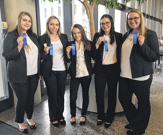 Submitted photo Greene County Career Center students participated at the Health Occupations Students of America/Medical Reserve Core and won first place. The team has works closely with Dr. Don Brannon of Greene County Public Health. They will compete in the state competition April 10-11 in Columbus. Pictured are: Shyann Predmore, Brooke Hentrich, Danielle Dailey, Grabirelle Payton and Mackenzie Collier.