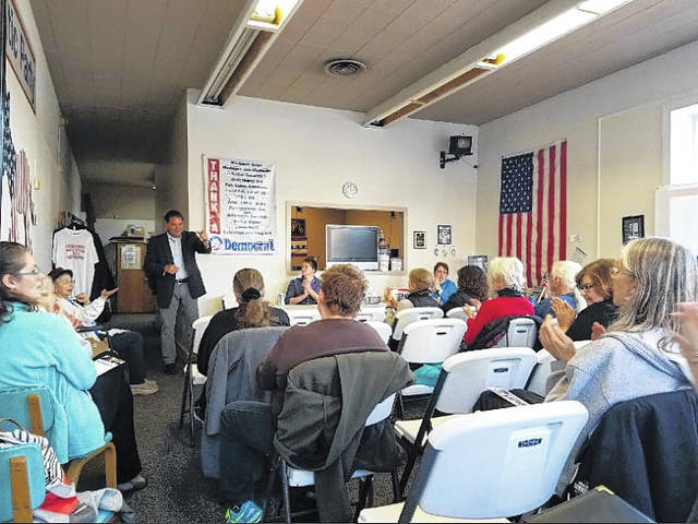 Submitted photos Former United States Congressman and candidate for Ohio auditor of state, Zack Space, speaks to the Greene County Democratic Women's Club in Xenia March 22.