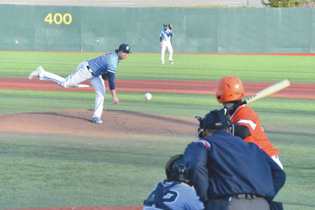 Fairborn starting pitcher Will Coleman delivers a pitch to start the second game of Friday's March 30 doubleheader with National Trail. The games were played at Wright State University's Nischwitz Stadium.