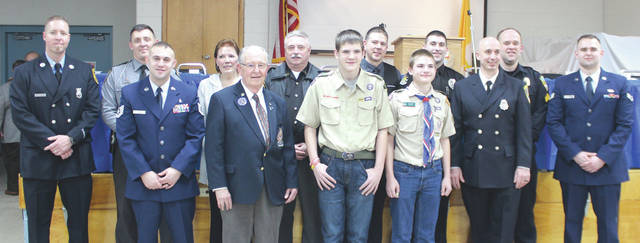 Submitted photo Fairborn Council 3724, Knights of Columbus held its 45th Annual Blue Coat Awards recently to honor area police officers and firefighters, Greene County sheriff's deputies, an Ohio State Highway Patrol – Xenia Post trooper, a wounded warrior, a volunteer, a scout, a youth and other area citizens during ceremonies held at the Mary Help of Christians Parish Center in Fairborn.