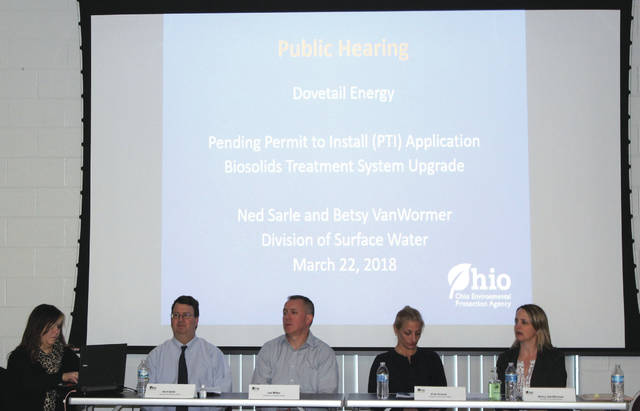 Linda Collins | Greene County News Representatives from the Ohio EPA Divison of Surface Water anwsered questions and heard comments from concerned Bath Township citizens.