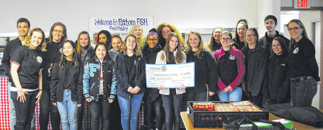 Whitney Vickers | Greene County News The Fairborn High School Interactive Club raised $2,000 worth of funds and goods to donate to the Fairborn FISH Food Pantry.