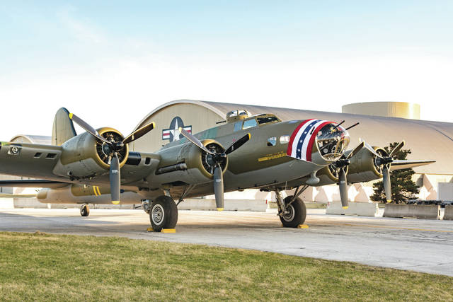 Don Tate | Greene County News The Memphis Belle was towed from the National Museum of the United States Air Force Restoration Hangar to the World War II Gallery before it opens to the public in May.