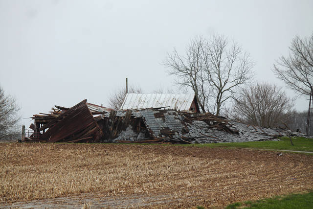 Anna Bolton | Greene County News A storm April 3 leveled a barn on State Route 72 near Fishworm Road in Cedarville.