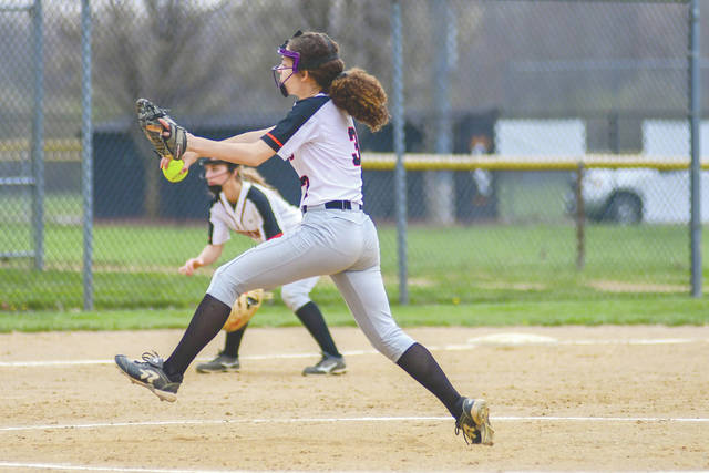 Olivia Knight (3), of Beavercreek sends a pitch to the plate, Saturday April 14 at Rotary Park in Beavercreek.