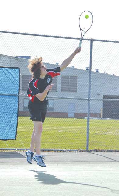 Ben Heath, the 2017 Ohio Heritage Conference Player of the Year, needed three sets to defeat Greeneview's Matt Hovan on April 12 at Jamestown's Seaman Park in first singles.