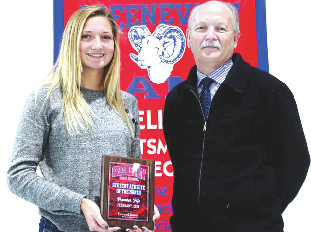 Frankie Fife, shown with Mike Reed, was chosen as the Edward Jones Investments Athlete of the Month for February for Greeneview High School. This award is being sponsored by the office of Mike Reed at Edward Jones Investments of Xenia, serving Xenia, Jamestown, Cedarville and surrounding areas. Fife, a senior on the girls basketball team, averaged 17.7 points, 4.6 rebounds, 5.3 assists and 4.3 steals per game, connected on 47.5 percent of her shots from the floor, and joined the 1,000 point club (second in career points in school history). She also helped lead the team to the Ohio Heritage Conference South championship, was named first team OHC, and to the All-Southwest District team. Her grade-point average is an impressive 4.09.