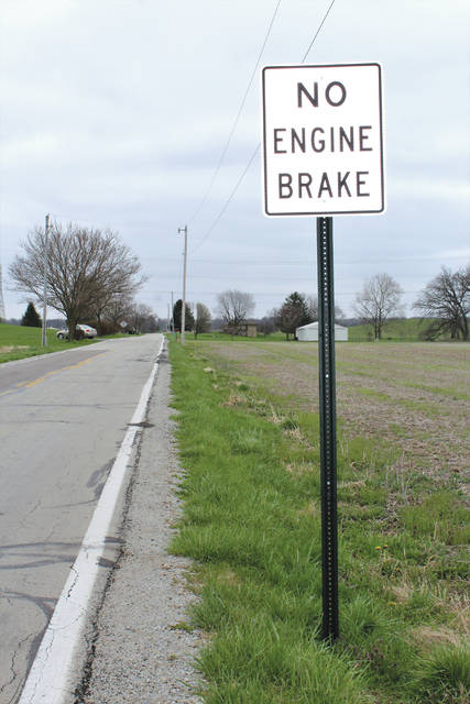 "Linda Collins | Greene County News ""No Engine Brake"" signs have been posted along Herr Road in Bath Township."