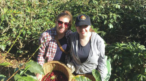 Jordan Collins (left) and Jessica Brown at a coffee farm in Costa Rica.