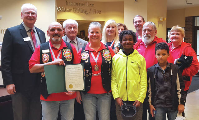 "Submitted photo Fairborn Mayor Paul Keller proclaimed May as ""Motorcycle Awareness Month"" throughout the City of Fairborn. Member of the Chapter F of Gold Wing Road Riders Association were present to accept the proclamation."