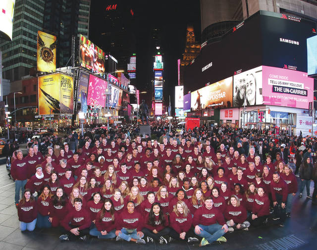 Submitted photo Ninety-eight seniors and 26 chapperones from Fairborn High School took a trip to the Big Apple March 23.