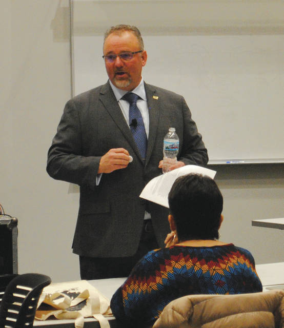 Whitney Vickers | Greene County News Kenneth Petersen is a candidate for Wright State University's provost position. He currently serves as the dean of the college of business and economics at Boise State University, a position he has held since 2014.