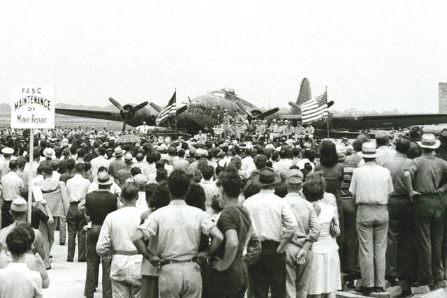 Submitted photo The B-17F Memphis Belle at Patterson Field (now Wright-Patterson Air Force Base) in July 1943. In anticipation of large crowds visiting the National Museum of the U.S. Air Force for the B-17F Memphis Belle™ exhibit opening events, an additional entrance gate will be available for vehicles entering the museum northbound on Harshman Road. Gate 24B, located near the Armory will be open for inbound traffic only from May 17-19 beginning at 8 a.m. each day.